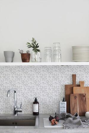 5. Wallpaper the Backsplash Area in Your Kitchen